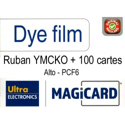 PCF6 - 100 cartes PVC+Film couleur (YMCKO) Magicard Alto