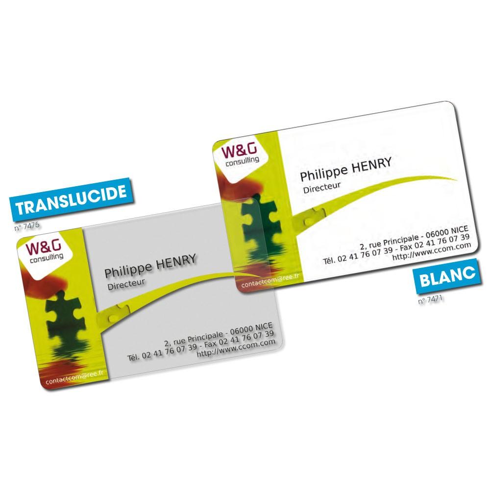 Cartes De Visite PVC Blanc Transparent