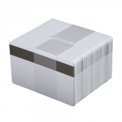 100 Cartes PVC blanches Premium avec piste LoCo - 86 x 54 mm