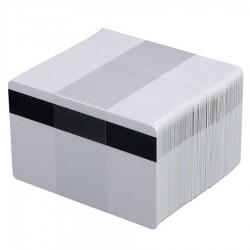 100 Cartes PVC blanches Premium avec piste HiCo - 86 x 54 mm